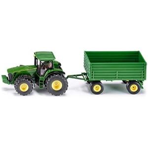 siku 1953, John Deere Tractor met aanhanger, 1:50, metaal/kunststof, groen, vele functies