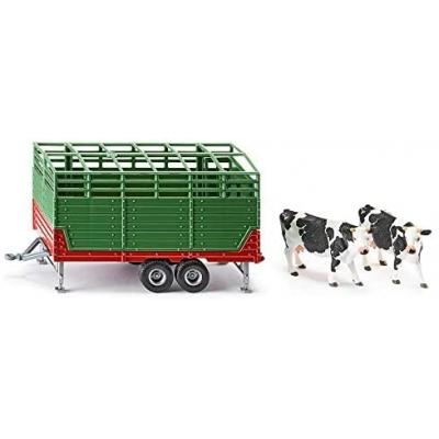 siku 2875, veewagen incl. 2 Holstein-koeien, 1:32, metaal/kunststof, groen, vele functies