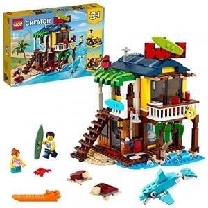 LEGO 31118 Creator 3-in-1 Surfer Strandhuis, Vuurtoren en Zomerhuis met Zwembat, Speelgoed voor Kinderen van 8 Jaar en Ouder