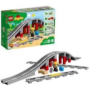 LEGO 10872 DUPLO Town Treinbrug en -rails Bouwstenenset met claxon actiesteen