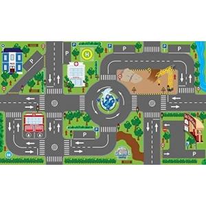 Kids Globe 570271 Speeltapijt met straten (lichtgevende led-stoplichten, kindertapijt met anti-slip bodem, afmeting 120 x 72 cm)