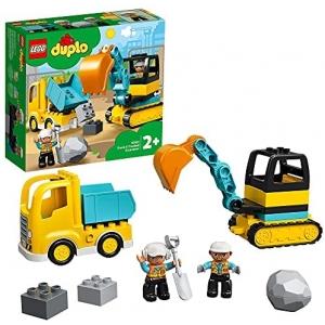 LEGO DUPLO Construction Truck & Graafmachine met rupsbanden 10931 )LEGO DUPLO Construction Truck & Graafmachine met rupsbanden 10931 bouwplaatsspeelgoed met een graafmachine en kiepwagen voor kinderen van 2 jaar en ouder (