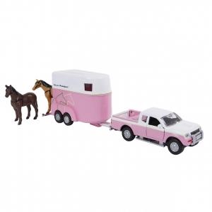 520124 KIDS GLOBE HORSES 520124 PICKUP MET TRAILER