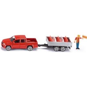 SIKU 3543 Pick up met Kantelaanhangwagen